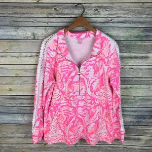 Lilly Pulitzer Skipper Printed Popover Lace Sleeve